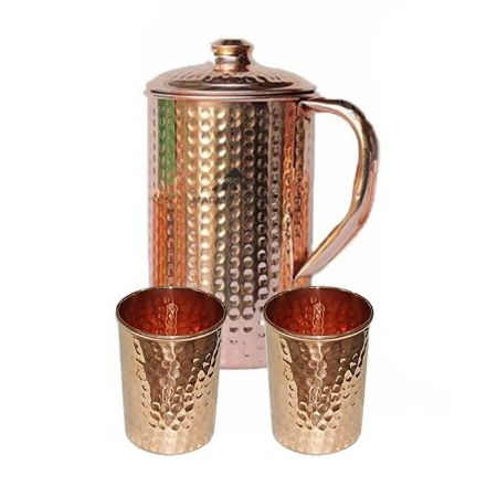 Copper Hammered Jug Combo